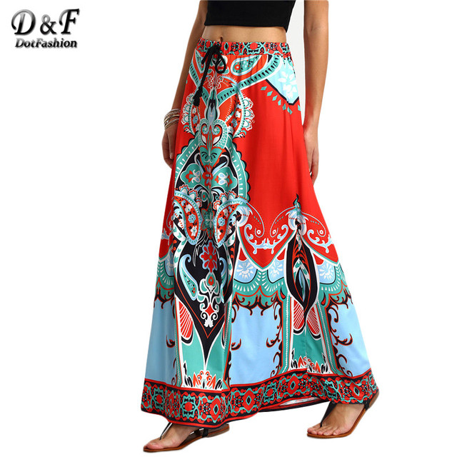Dotfashion Vintage Boho Ladies Summer Printed Woman New Arrival 2016 Shift Long Skirts Women Tribal Print Tied Waist Maxi Skirt