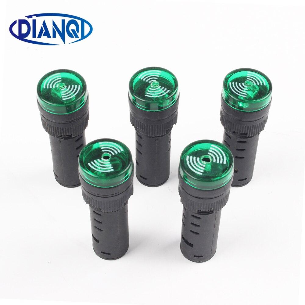 1pc Green AD16-16SM 12V 24V 110V 220V 16mm Flash Signal Light Red LED Active Buzzer Beep Alarm Indicator