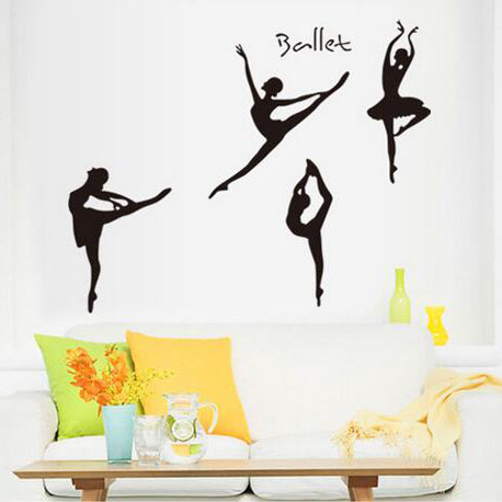 Dancing Ballet Girls Sketch Wall Stickers For Living Room Bedroom Bathroom Decoracion Children Kids Room Wallpapers