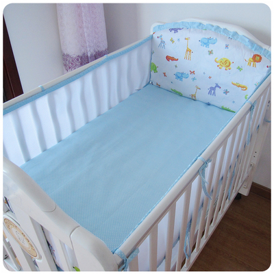 Promotion! 5PCS Mesh  children kids Baby bedding Sets for Boy And Girl crib bedding set Cot Set,include(4bumpers+sheet)