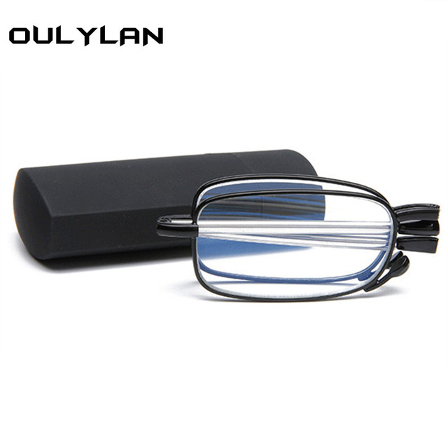 Oulylan Unisex Folding Reading Glasses Portable Mini Design Presbyopic Glasses with Box Reader Glasses Men Spectacles Goggles