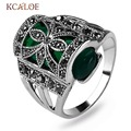 KCALOE Black Rhinestone Cubic Zirconia Womens Rings Antique Silver Plated Vintage Green Natural Stone Engagement Ring Aneis