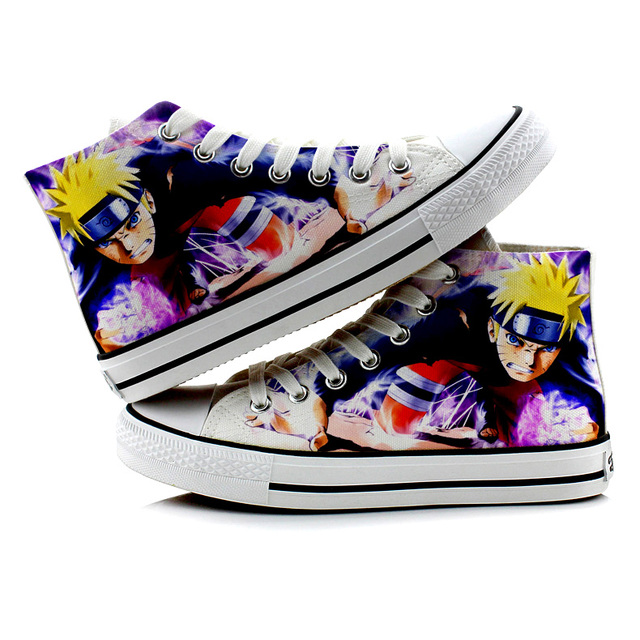 Naruto Canvas Shoes Men Cool Printed High top Breathable Boots