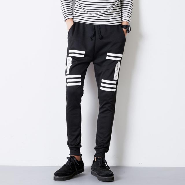 Mens Nova Moda Outono Slim Fit Skinny Sweatpants Harem Pants Impressos Hip Hop Calças masculinas de Algodão Calça Casual Calças