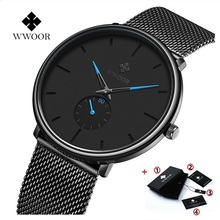 WWOOR Ultra-thin Mesh Fashion Sport Mens Wrist Watches Brand Luxury Quartz Watch Men Casual Stainless Steel Waterproof Watches delevan luxury watch men brand men s watches ultra thin stainless steel mesh band quartz wristwatch fashion casual watch 1128