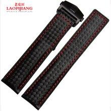 Laopijiang часы с метров водонепроницаемый кожаный ремешок для часов модель углеродного волокна мода часы аксессуары 20 / 22mmm