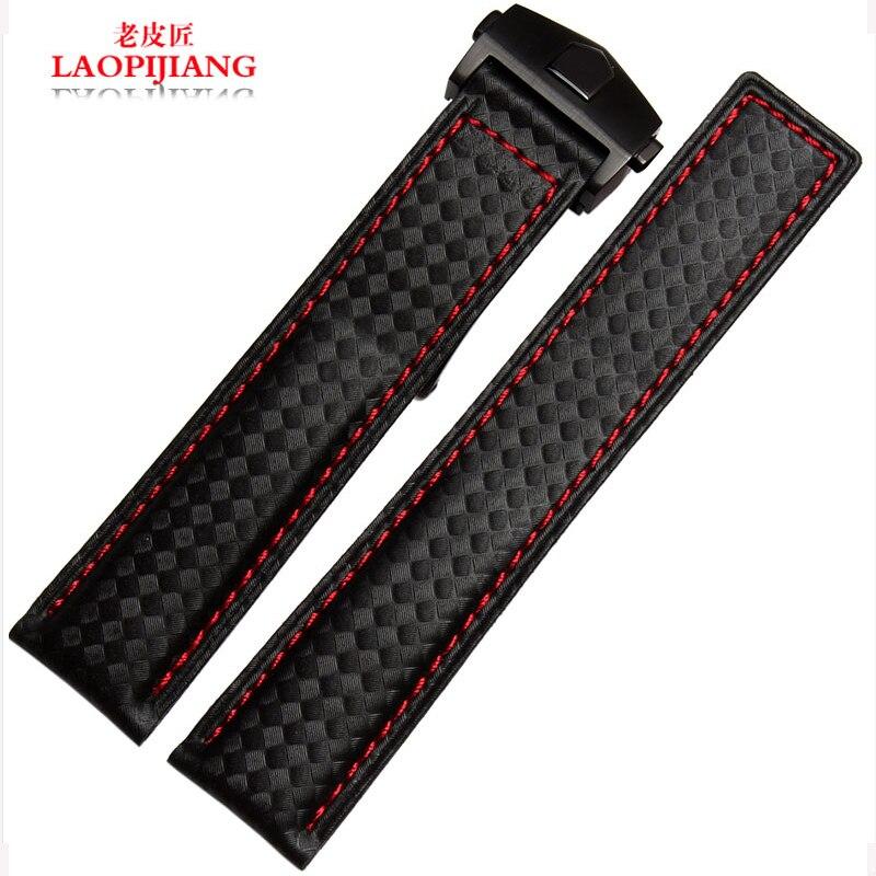 7c5569397c01 Laopijiang con metros impermeable correa de cuero patrón de fibra de  carbono moda relojes accesorios 20 22mmm