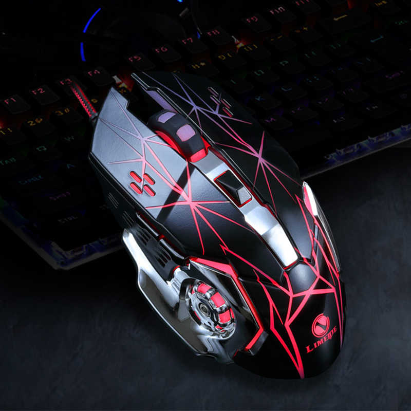 Gaming Mouse Programmable DPI Dapat Disesuaikan Komputer LED Optik Mouse Game Kabel USB Game Kabel Mouse LOL untuk Gamer Profesional
