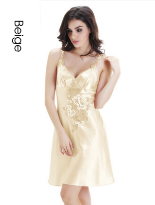 Plus Size Sexy Lingerie Satin Sleep Women Summer Nightgown camisola de dormir mujer Slee ...