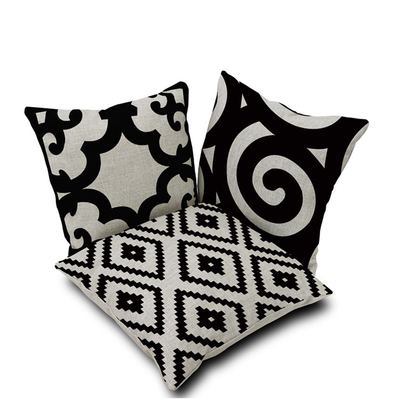 Gracious Home Decorative Pillows : Modern Home Decorative Throw Pillow Case Simple and elegant black white cotton linen cushion ...