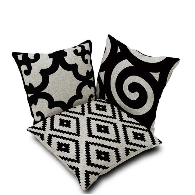 Modern Home Dekorative Dekokissen Fall Einfache Und Elegante Schwarz Weiß  Baumwolle Leinen Kissenbezug Capa De Almofadas