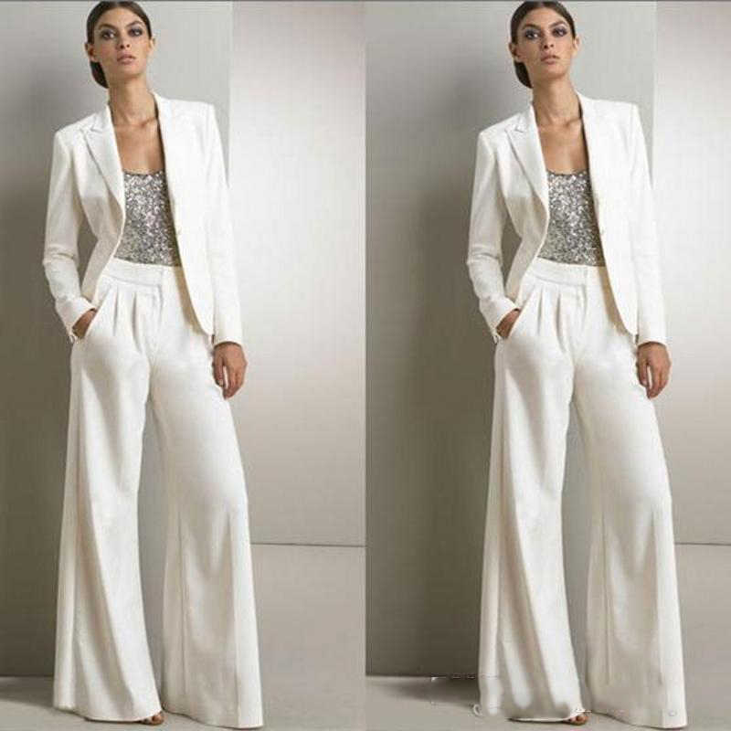 Modern White Two Pieces Mother Of The Bride Pant Suits Wedding Guest Dress  Plus Size Dresses With Jackets