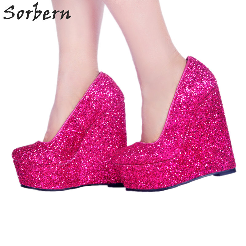 Sorbern Peach Sequins Slip On Women Wedge Round Toe Glitter Shoes Woman Pumps Glitter Heels Shoes Woman High Heel Platforms sorbern real photo colored glitter sequins women pumps slip on rivets ladies shoes women high heels stilettos pumps eu34 46