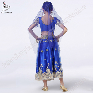 Image 4 - Girls Bollywood Dance Costume Set Kids Belly Dance Indian Sari Children Chiffon Outfit Halloween Top Belt Skirt Veil Headpiece