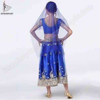 Girls Bollywood Dance Costume Set Kids Belly Dance Indian Sari Children Chiffon Outfit Halloween Top Belt Skirt Veil Headpiece