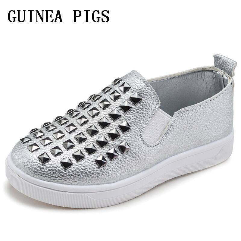 2018 New Designer Pink Gold Silver Eur21-36 Rivets Kids Sneaker High Quality Children Shoes Girls Boys Shoes.