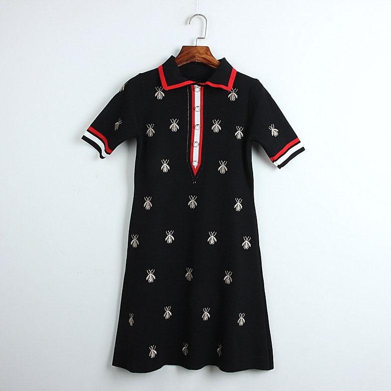 New luxury Women England Embroidered bee stripes Vintage Party Club Lolita Rock DressWear Dresses Clubwear Gypsy Unique #SN3