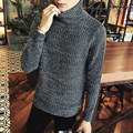 Men autumn winter classic preppy style turtleneck thick sweater Men's all-match casual sweaters pullover Red black navy blue kni