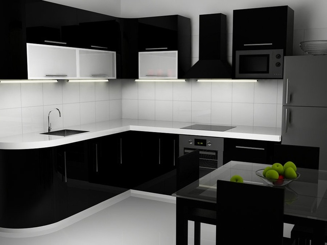 Black high gloss kitchen cabinet-in Kitchen Cabinets from Home ...