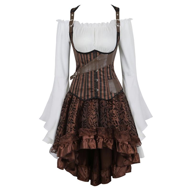 Steampunk Underbust Corset Dress Top Skirt 3-piece Costume Cosplay Gothic Punk Corsets Bustier Pirate Burlesque Vintage Korsett