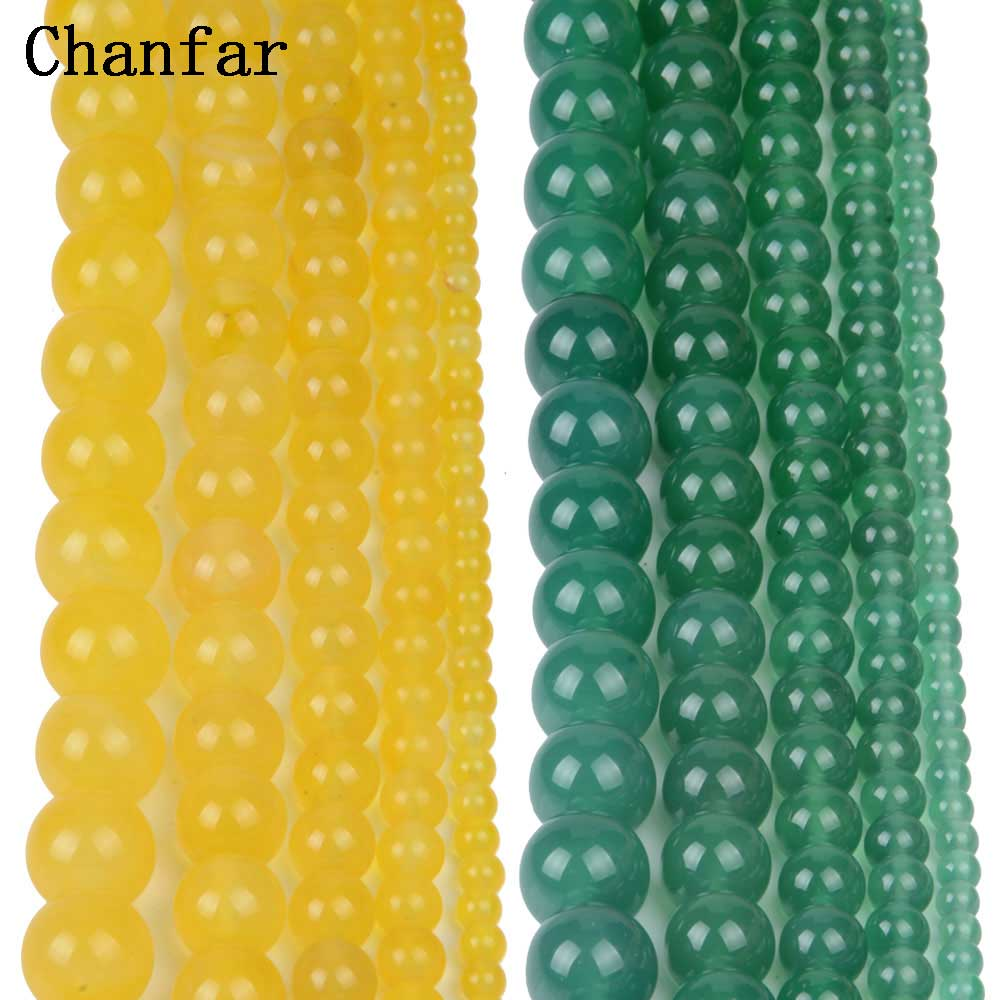 Yellow Green stone Women Jewelry Fashion Making Beads 4 6 8 10 12mm