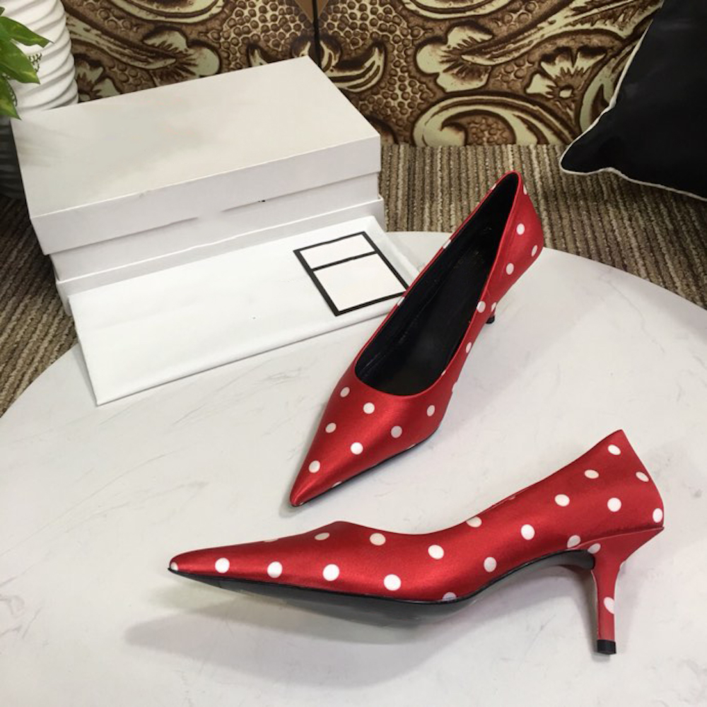 Bombas Gran red blue Caliente black Señoras Dot Genuino Alto Tacón De Polka Nueva White Cuero Size43 Mujer Parte Fino 2019 Vender Zapatos Moda pv8Rxqw