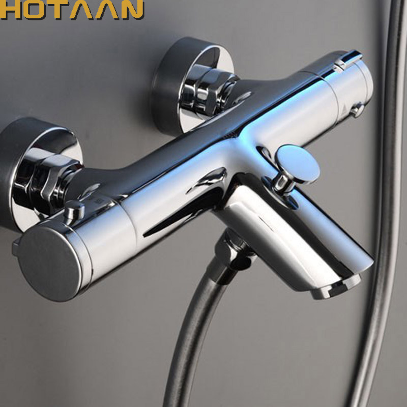Wall Mounted Bath Shower Ceramic Thermostatic Faucets Valve Bathroom Shower Water Thermostatic Control Valve Mixer Faucet Tap 55 luxury thermostatic shower faucet mixer water tap dual handle polished chrome thermostatic mixing valve torneira de parede tr511