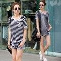 Plus size clothing летом полоса короткими рукавами дизайн свободные длинные футболки XXXL большой размер женщин футболки
