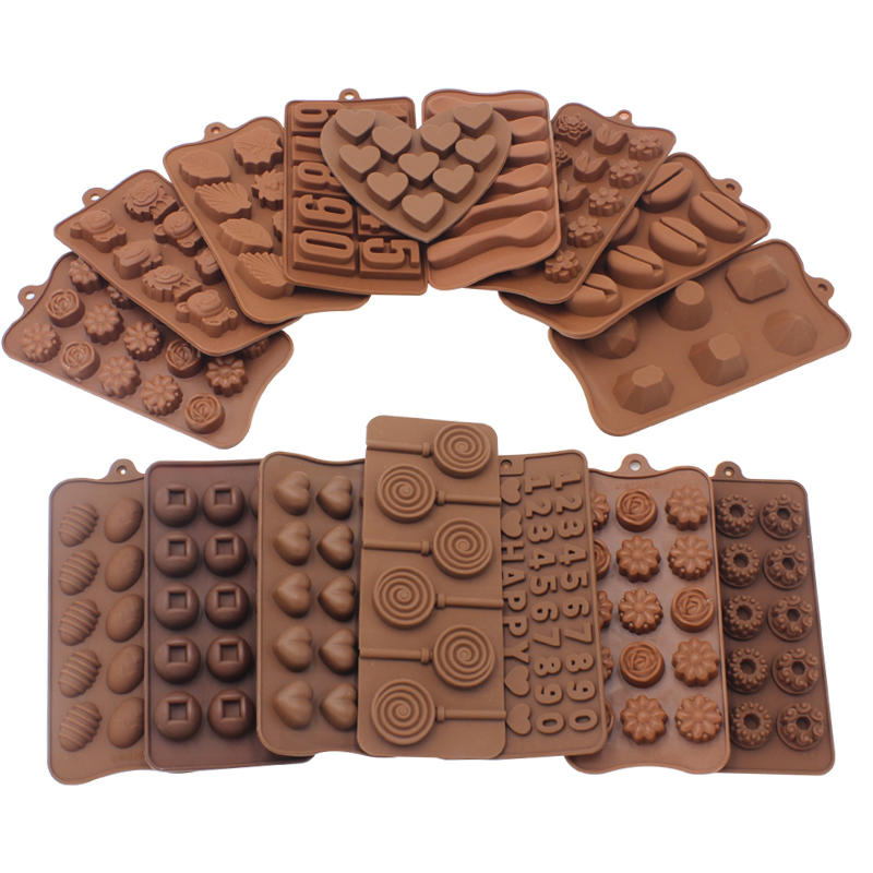 15 Shapes Silicone Chocolate Mold Non-stick Heart Flower Cake for Jelly Candy Fondant Baking Decoration