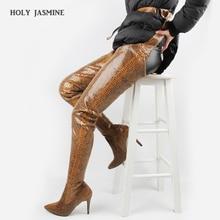 Купить с кэшбэком 2019 New Snake Boots Oversized Women Boots Fashion Shoes Luxury Shoes Women Designers Serpentine Boots Sexy Soft Ladies Shoe