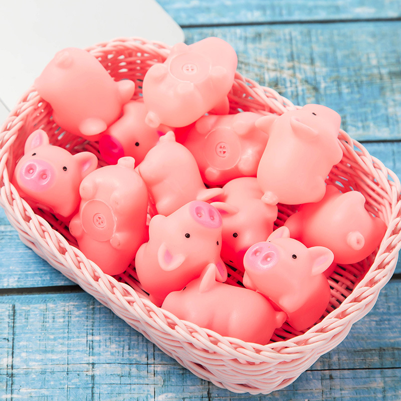 10pcs Mini Pink Pigs Toy Cute Vinyl Squeeze Sound Animals Lovely Antistress Squishies Squeeze Pig Toys for Kids Gifts lovely pig style white light 2 led keychain w sound effect beige deep pink 3 x ag13