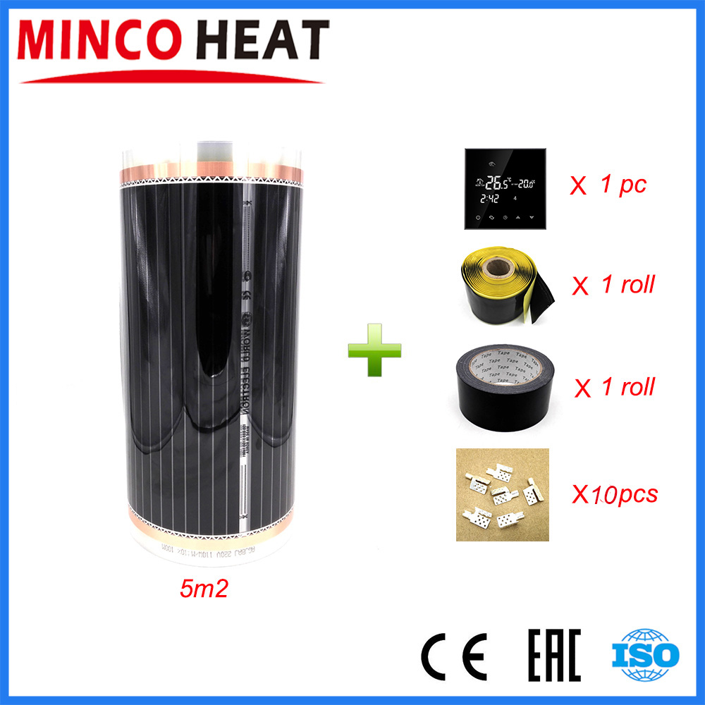 Hot 5m2 Far Infrared Floor and Wall Heating Film With Accessories Home Warming Mat AC220V 110W