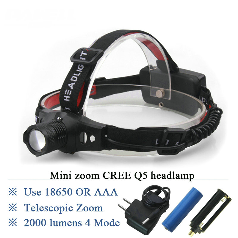 Mini LED Headlamp Rechargeable Headlight CREE XML Flashlight Head lamp Zoomable waterproof 18650 OR AAA hunting