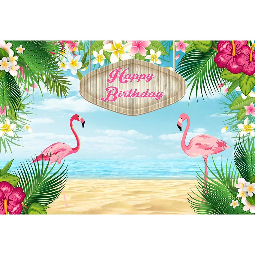 hawaiian style photography background tropical plants pink flamingo
