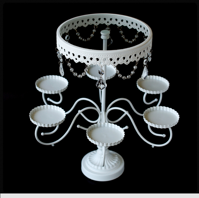 Luxury Crystal White Cake Stand Wedding Cupcake Liners Display - Cupcake chandelier stand crystals