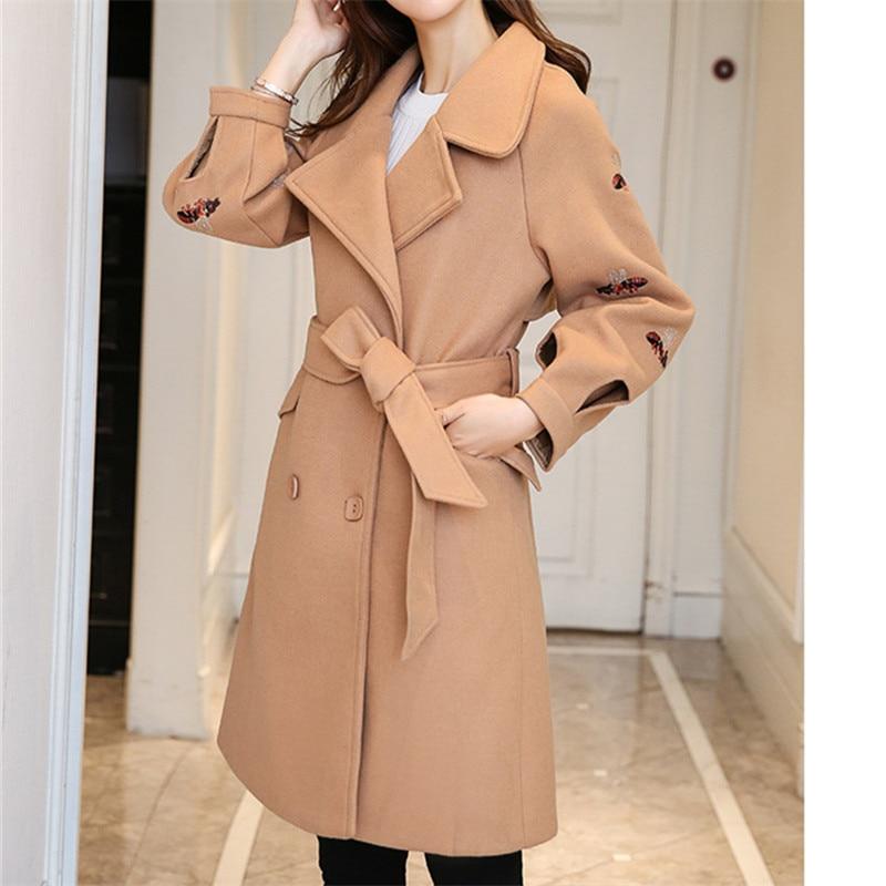 kaki orange Femme Outwear Manteau Style Mode Manteaux army De Coréenne D'hiver Chaud Nouveautés 2018 Élégant Poches Green Laine Noir zwnTqUrxzB