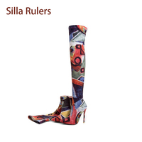 Silla Rulers Spring Autumn Women Over The Knee Boots Sexy Pointed Toe Thin High Heel Print