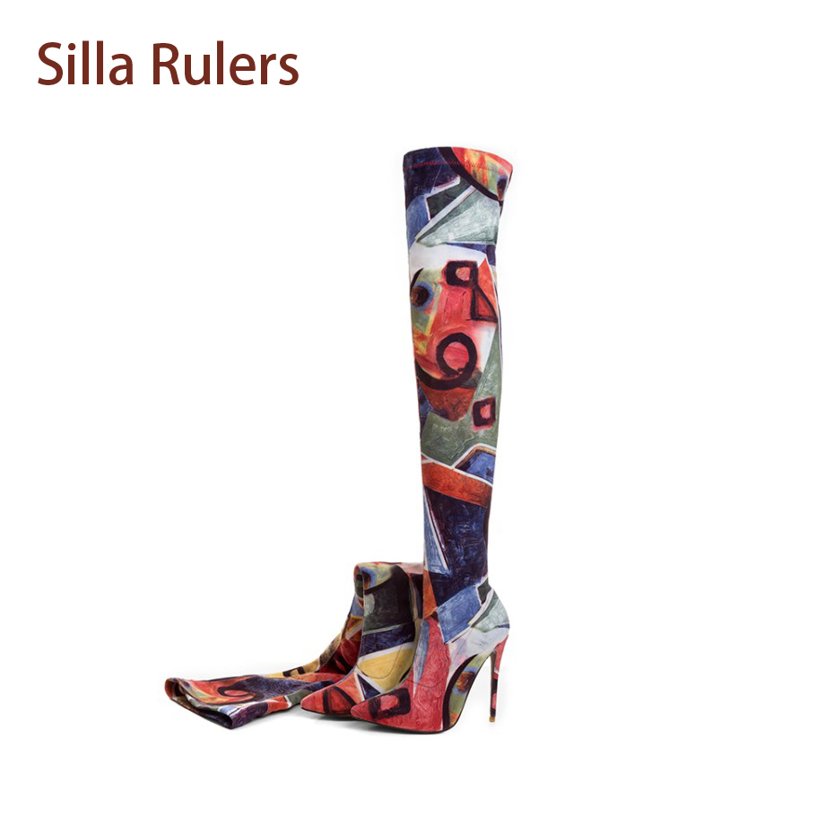 Silla Rulers Spring Autumn Women Over The Knee Boots Sexy Pointed Toe Thin High Heel Print Boots Thigh High Flower Stretch Boot
