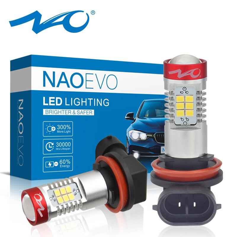 NAO H11 LED Car fog Light H10 H8 led bulbs h16 5202 9005 1200lm 12V hb4 hb3 auto 9006 h9 white Driving Running Light lamp 6000K
