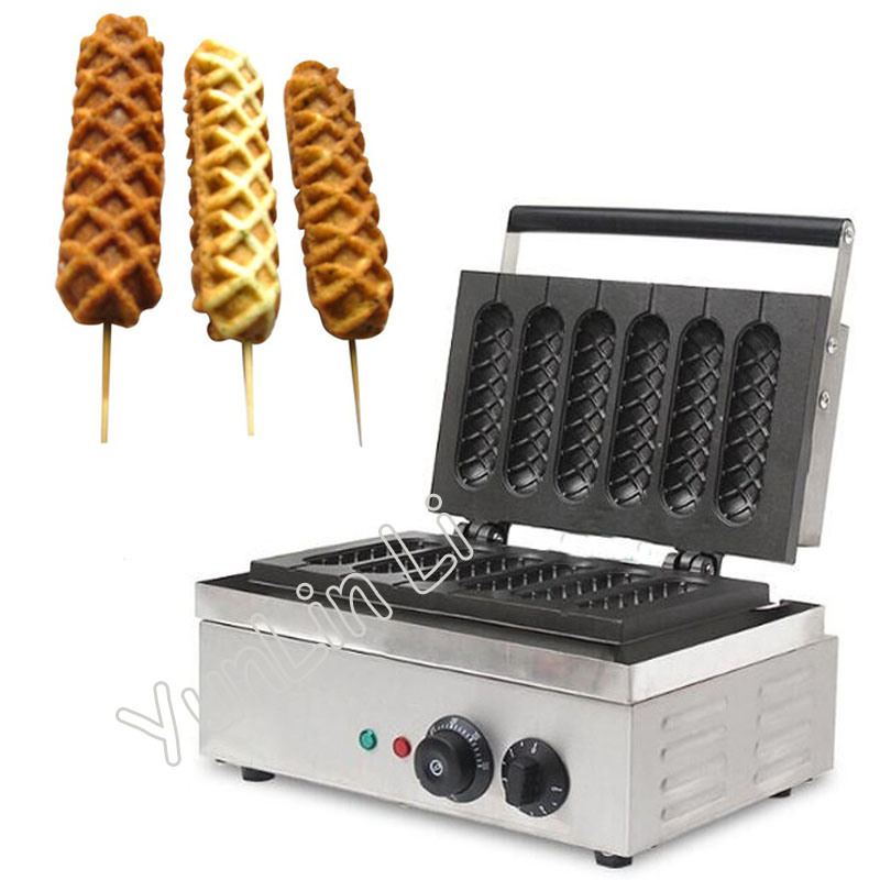 Commercial Hot Dog Baker Corn-shape Cake Making Machine 6 Sticks Waffle Maker Snack Cooking Tool EB-Q1
