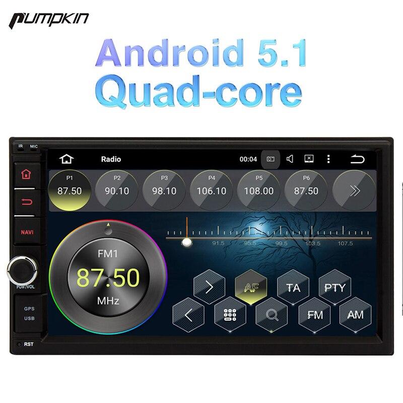 Тыквы 7 дюймов 2 DIN Android 5.1 Универсальный dvd плеер автомобиля Quad Core GPS навигации стерео Wi Fi 3G bluetooth Радио головного устройства