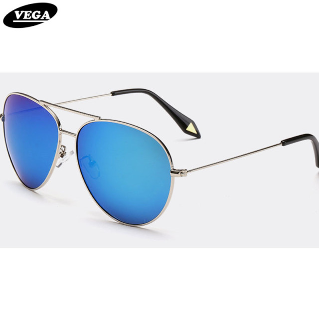 a8e8ee8f33c20 VEGA Classic Women s Men s Pilot Sunglasses Polarized Trendy Large Aviation  Glasses Unisex Blue Silver Gold Coating