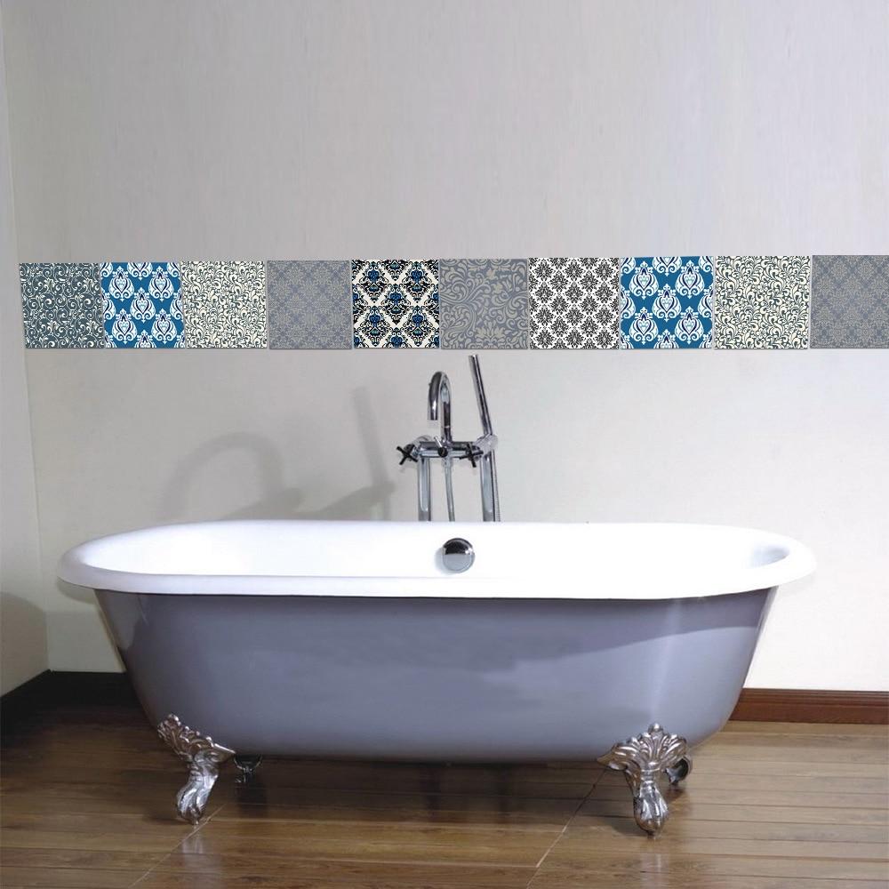 20*20cm*10pcs/7.87*7.87inch Bathroom wall Damascus tile stickers ...
