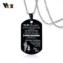 Vnox Men's Black Stainless Steel ID Necklaces Engraved Customize Info Tag Pendant Gifts for DAD Jewelry Dropshipping(China)