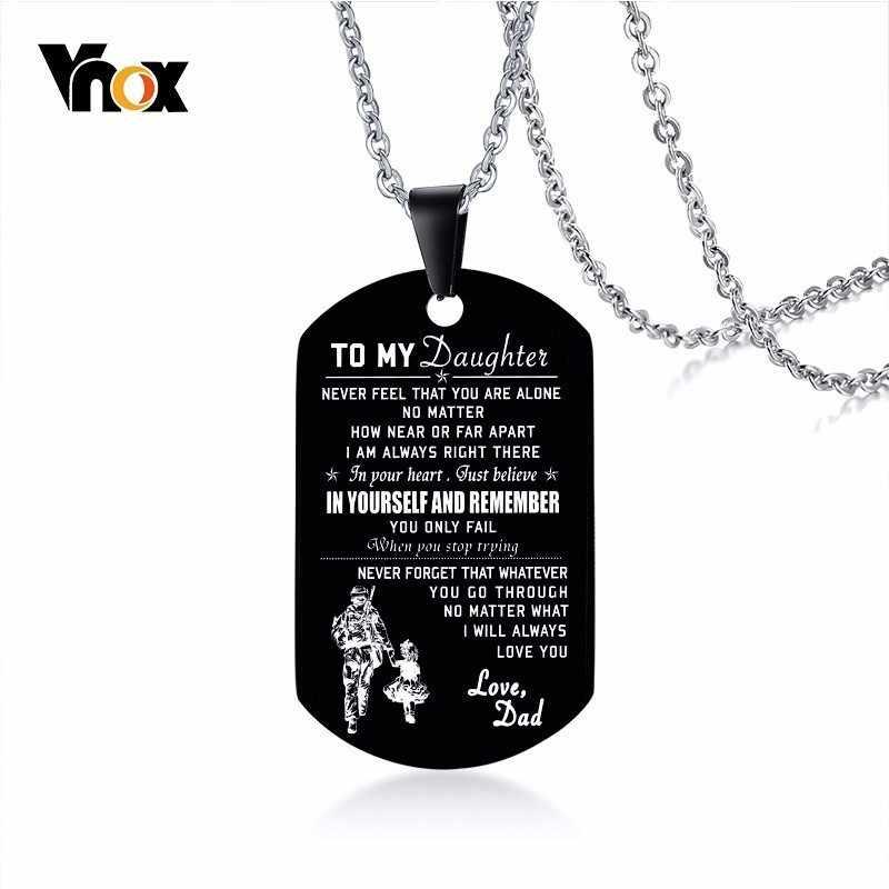 Vnox męska czarna ze stali nierdzewnej ID naszyjniki grawerowane dostosuj informacje Tag wisiorek prezenty dla taty biżuteria Dropshipping