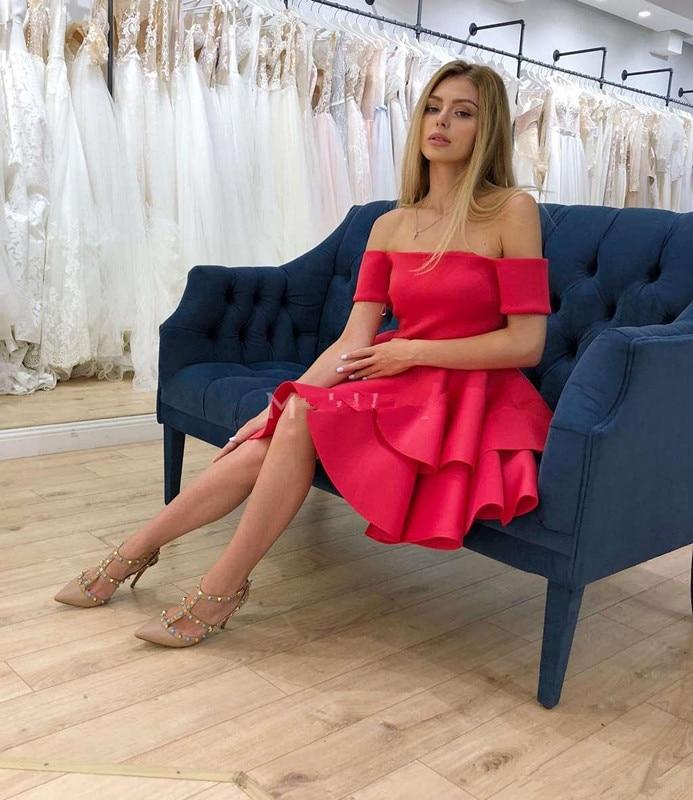 2019 Short Tiered Prom   Dresses   Off Shoulder Mini Formal Party Gown Chic Vestidos De Fiesta Cheap   Cocktail     Dress