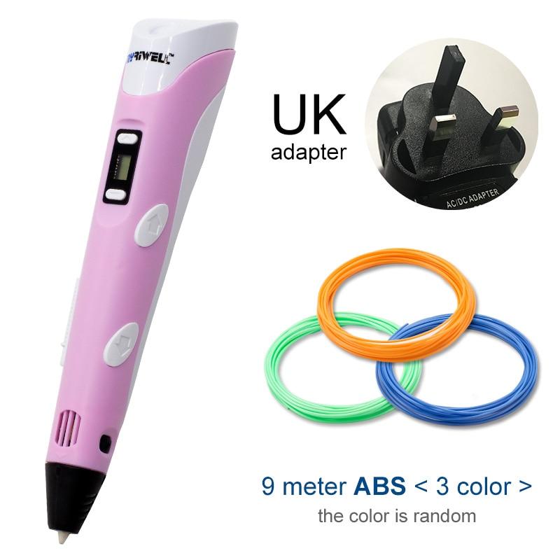 Myriwell, 3D ручка, светодиодный экран, сделай сам, 3D Ручка для печати, 100 м, ABS нити, креативная игрушка, подарок для детей, дизайнерский рисунок - Цвет: Pink UK