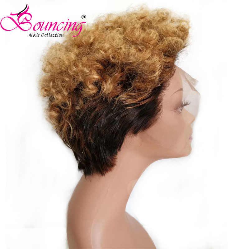 Bouncing бразильские человеческие волосы парики 13*4 кружевные передние человеческие волосы парики короткий срез Pixie парики 1B/27 кудрявые индивидуальные парики