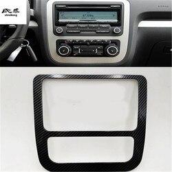 1pc samochodów naklejki ABS z włókna węglowego ziarna centralny panel sterowania dekoracyjny pokrowiec na 2009 2017 Volkswagen VW Scirocco 137 138|Chromowane wykończenia|   -