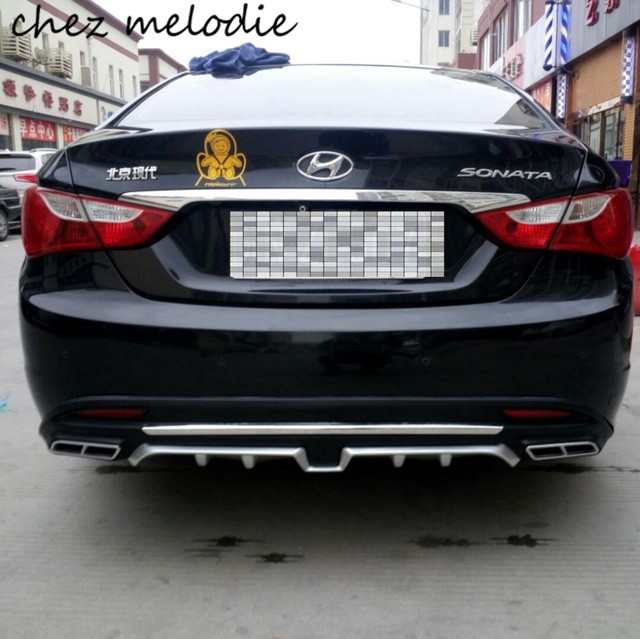Top quality PP dual outlet style car rear diffuser bumper For Hyundai SONATA 8 2011-2014 single exhaust volumn 2.0